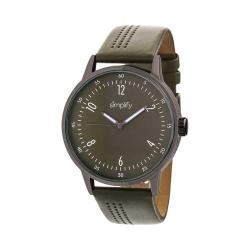 Simplify The 5700 Leather Band Watch Olive