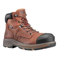 Men's Timberland PRO Helix HD 6in Waterproof Soft Toe Work Boot Distressed Red Brown Full Grain Leather