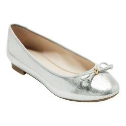 Women's Cole Haan Megan Lace Bow Ballet Flat Silver Metallic Shimmer Leather