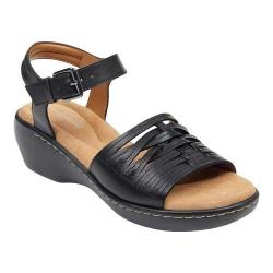 Women's Easy Spirit Dekah Ankle Strap Sandal Black Leather