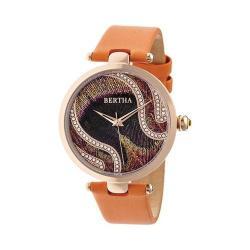 Women's Bertha Trisha BR8004 Watch Orange Silk-Overlaid Leather