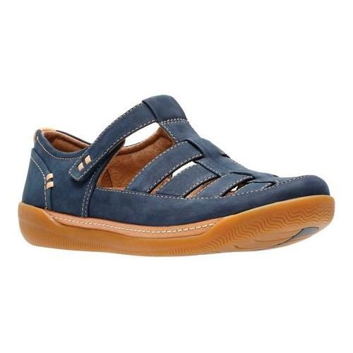 6f46df059bca Shop Women s Clarks Un Haven Cove Fisherman Sandal Navy Nubuck Full Grain  Leather - Free Shipping Today - Overstock - 21028881