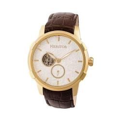 Men's Heritor Automatic HERHR7204 Callisto Semi-Skeleton Watch Brown Leather/Gold/Silver