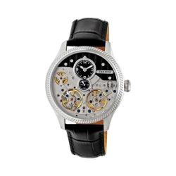 Men's Heritor Automatic HERHR7302 Winthrop Skeleton Watch Black Leather/Silver/Black