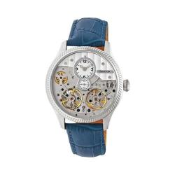 Men's Heritor Automatic HERHR7303 Winthrop Skeleton Watch Blue Leather/Silver/Blue