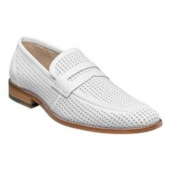 Men's Stacy Adams Belfair Moc Toe Penny Loafer 25165 White Leather