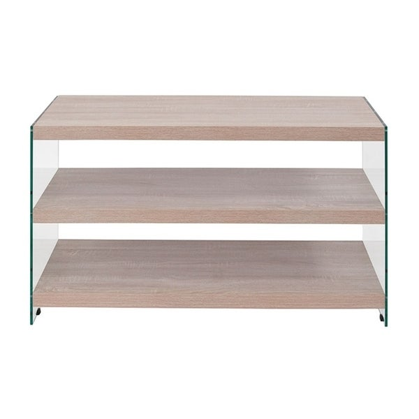 Offex Weston Collection Natural Wood Grain Finish TV Stand with Shelves and Glass Frame - n/a