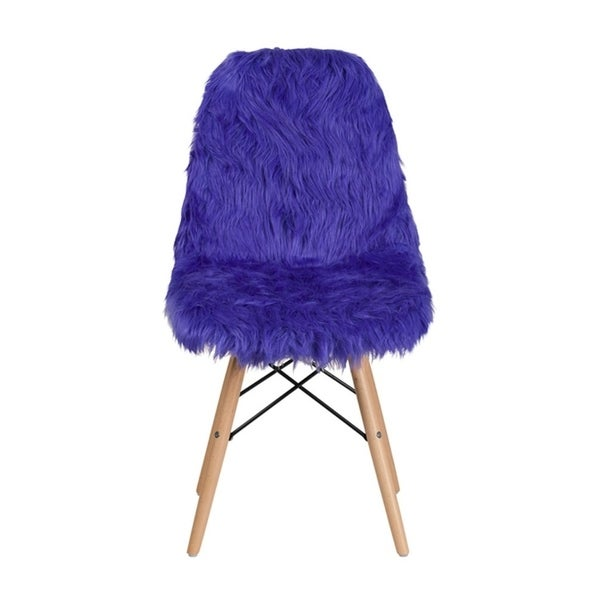 Offex Contemporary Faux Fur Upholstery Shaggy Dog Accent Chair - Dark Blue