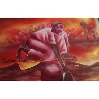 Handmade The Tribal Girl Canvas Art (Ghana)