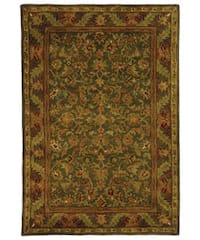 Safavieh Handmade Antiquities Kerman Charcoal Green Wool Rug - 4' x 6'
