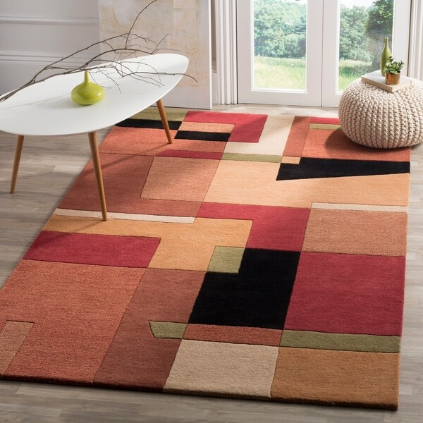 "Safavieh Handmade Rodeo Drive Modern Abstract Rust/ Multi Wool Rug - 7'6"" x 9'6"""