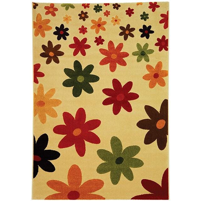 Safavieh Porcello Fine-spun Daises Cream/ Multi Area Rug (4' x 5'7)
