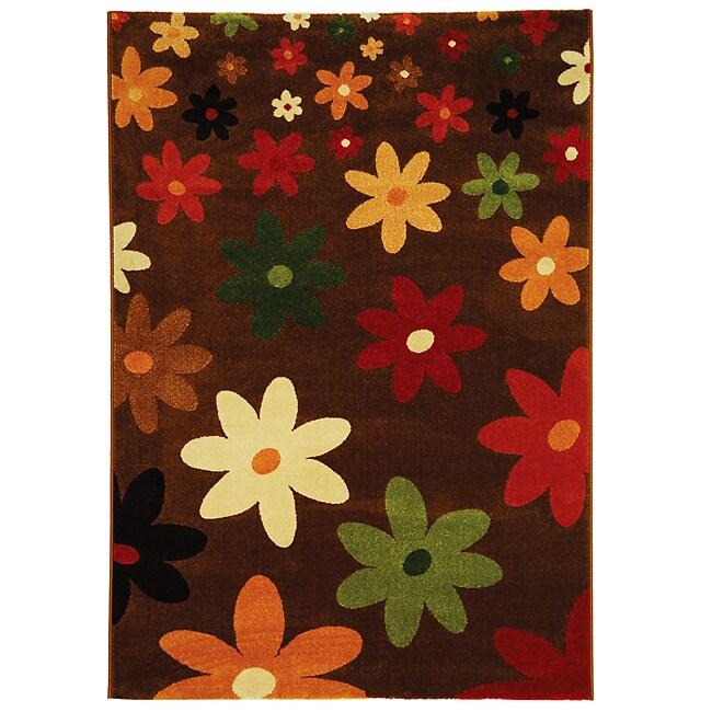 Safavieh Porcello Fine-spun Daises Brown/ Multi Area Rug (5'3 x 7'7)