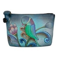Women's ANNA by Anuschka Hand Painted Coin Pouch 1824 Portuguese Parrot Denim