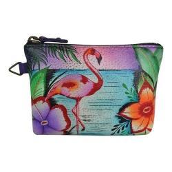 Women's ANNA by Anuschka Hand Painted Coin Pouch 1824 Tropical Flamingos