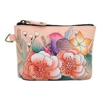 Women's ANNA by Anuschka Hand Painted Coin Pouch 1824 Vintage Garden