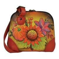 Women's ANNA by Anuschka Hand Painted Small Multi Compartment Organizer8109 Fall Bouquet