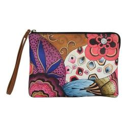 Women's ANNA by Anuschka Hand Painted Wristlet Clutch 8349 Tribal Potpourri