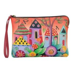 Women's ANNA by Anuschka Hand Painted Wristlet Clutch 8349 Village Of Dreams
