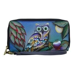 Women's ANNA by Anuschka Hand Painted Zip-Around Clutch 1832 Midnight Owl