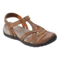 Women's Bare Traps Fifer T-Strap Sandal Brown Polyurethane/Elastic