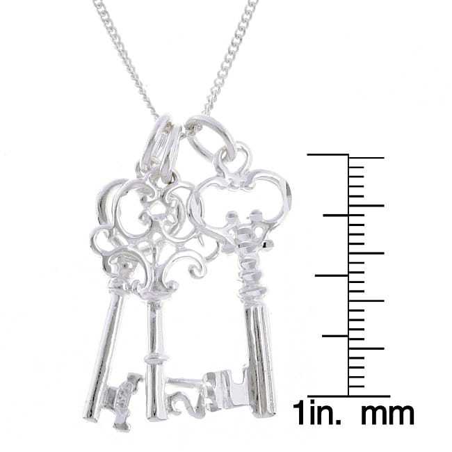 Sterling Essentials Sterling Silver 24-inch Key Charms Necklace