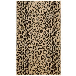 Thumbnail 1, Nourison Mondrian Beige/ Black Animal-print Rug (2'3 x 3'9).