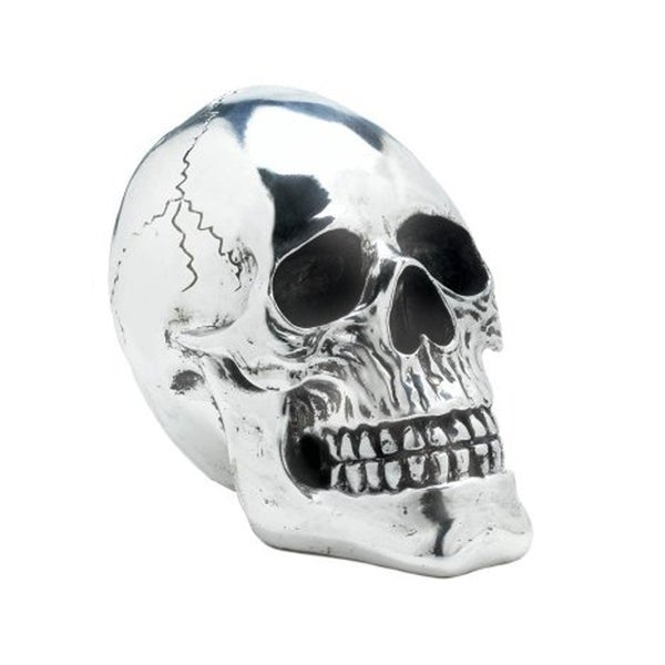 Dragon Crest Halloween Party Decorative Polyresin Shining Silver Skull Figurine