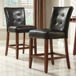 Tufted Button High Back Dark Brown PU 24-inch Stool (Set of 2)