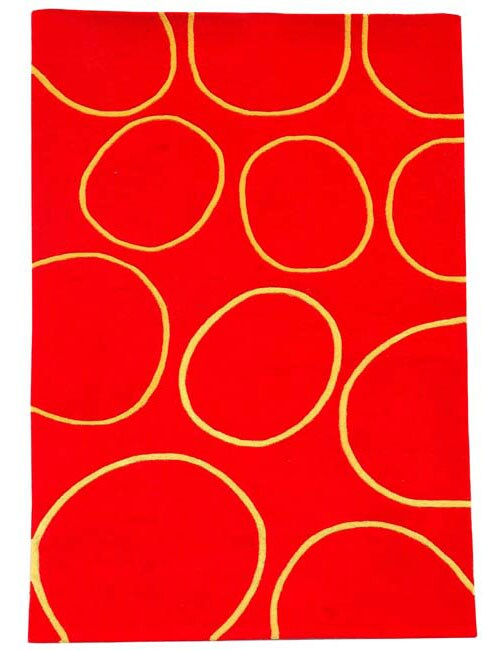 Hand-tufted Circle Red Wool Rug - 5' x 8'