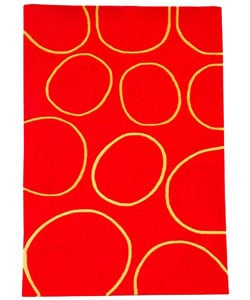 Hand-tufted Circle Red Wool Rug - 5' x 8' - Thumbnail 0