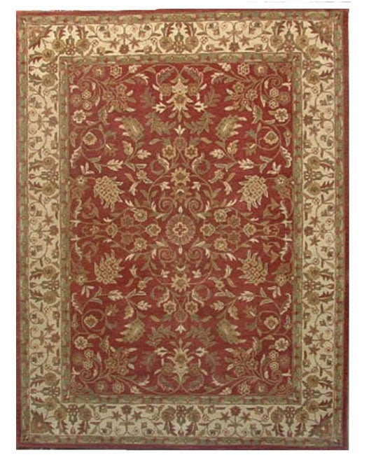 Hand-tufted Nikita Red/ Beige Wool Rug (8' x 10'6)
