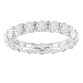 Miadora Signature Collection 18k Gold 3ct TDW Round Diamond Eternity Band