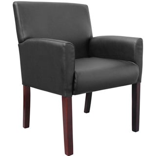Boss Black Joinable Midback Box Standard Wood/Vinyl Waiting Armchair