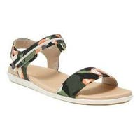 Women's Aerosoles Night Watch Flat Sandal Green Multi Fabric