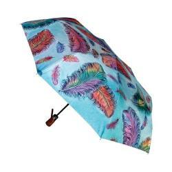 Women's Anuschka 3100 Umbrella Turquoise Floating Feathers