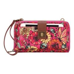 Women's Sakroots Artist Circle Large Smartphone Crossbody Raspberry in Bloom