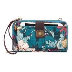 Women's Sakroots Artist Circle Large Smartphone Crossbody Teal Flower Power