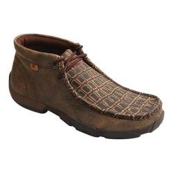 Men's Twisted X Boots MDMAL02 Alloy Toe Driving Moc Cayman Print/Brown Leather