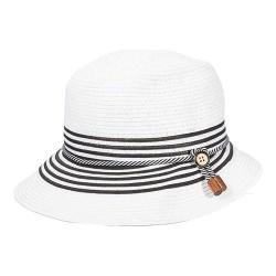 Women's Callanan CR222 Paper Braid Short Back Cloche Hat White/Black
