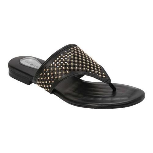a16a54b57bcf Shop Women s Foot Petals Evie Embellished Thong Sandal Black Genuine Leather  - Free Shipping On Orders Over  45 - Overstock - 21211302