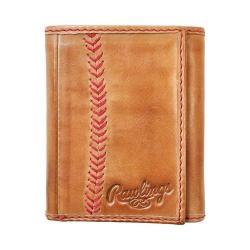 Men's Rawlings Baseball Stitch Trifold Wallet Tan