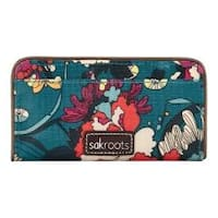 Women's Sakroots Artist Circle Slim Wallet Teal Flower Power