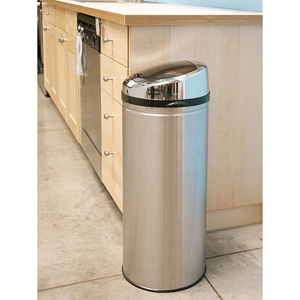 itouchless 13 gallon stainless steel round touchless sensor kitchen trash can - Stainless Steel Kitchen Trash Can