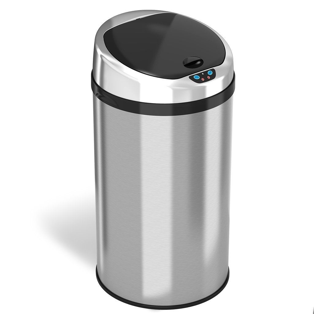 iTouchless Automatic Sensor Kitchen Trash Can - Stainless Steel – 8 Gallon  / 30.3 Liter – Round Shape – Odor Control System