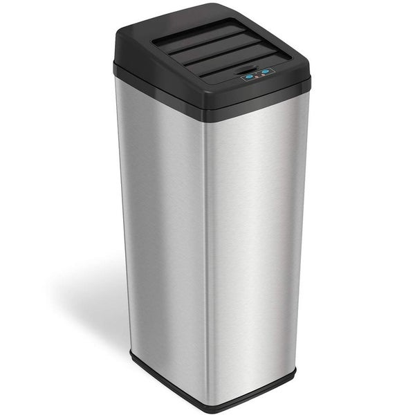 iTouchless Automatic Sliding-lid 14-gallon Stainless Steel Touchless Trashcan