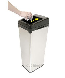iTouchless Automatic Sliding-lid White Steel Touchless Sensor Trash Can - Thumbnail 1
