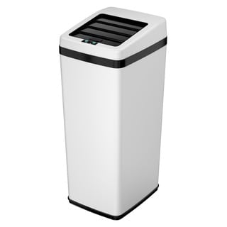 iTouchless Automatic Sliding-lid White Steel Touchless Sensor Trash Can