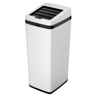 iTouchless 14 Gal. Automatic Sliding-lid White Steel Touchless Sensor Trash Can