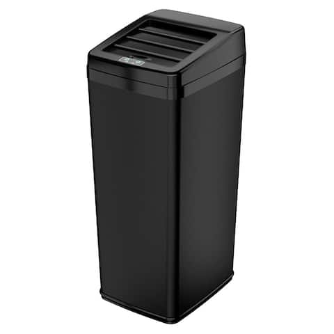 iTouchless Automatic Sensor Sliding-lid Steel Trash Can, 14 Gallon / 52 Liter  Black  Kitchen Trash Can